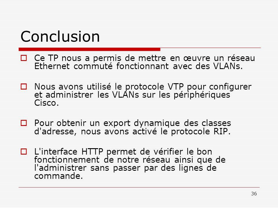 Conclusion Ce TP nous a permis de mettre en œuvre un réseau Ethernet commuté fonctionnant avec des VLANs.