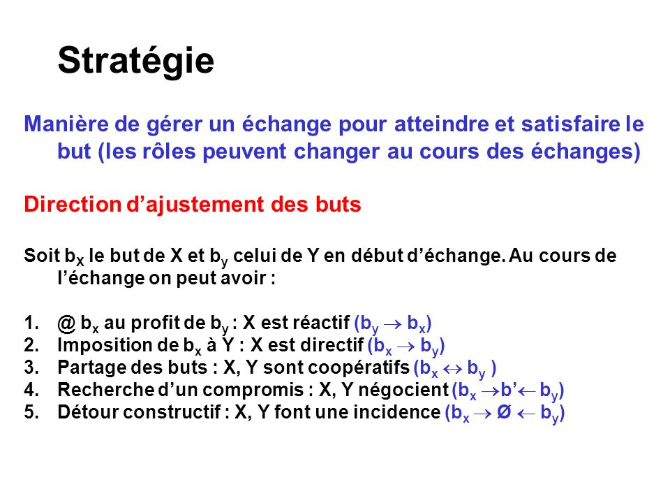 Stratégie Manière de gérer un échange pour atteindre et satisfaire le but (les rôles peuvent changer au cours des échanges)