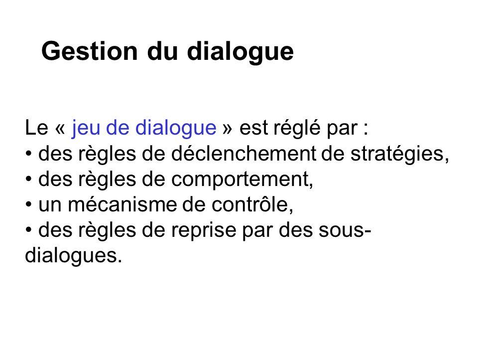 Gestion du dialogue Le « jeu de dialogue » est réglé par :