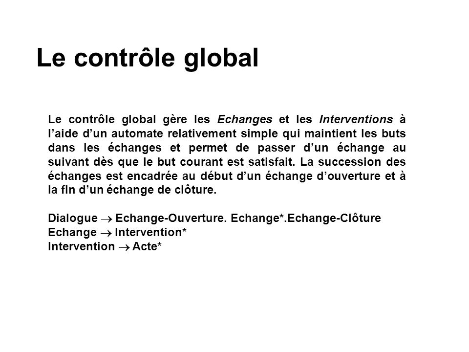 Le contrôle global