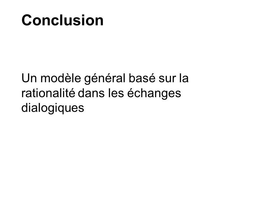 Conclusion Un modèle général basé sur la rationalité dans les échanges dialogiques