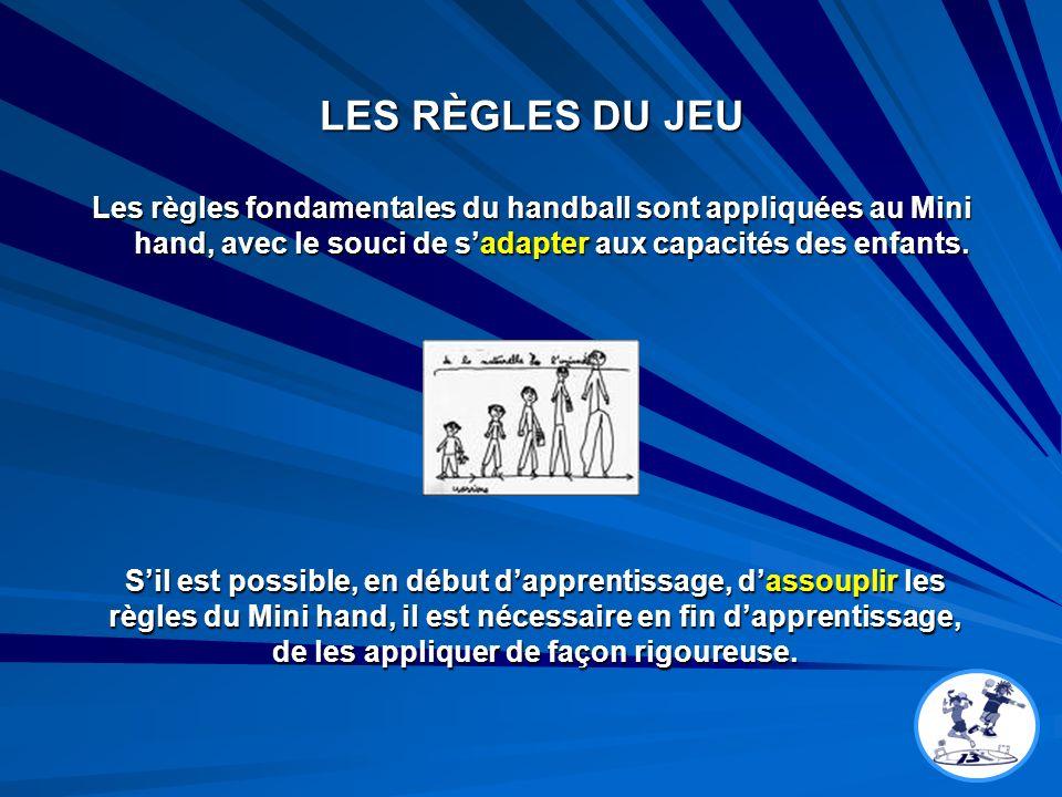 LES RÈGLES DU JEU Les règles fondamentales du handball sont appliquées au Mini hand, avec le souci de s'adapter aux capacités des enfants.