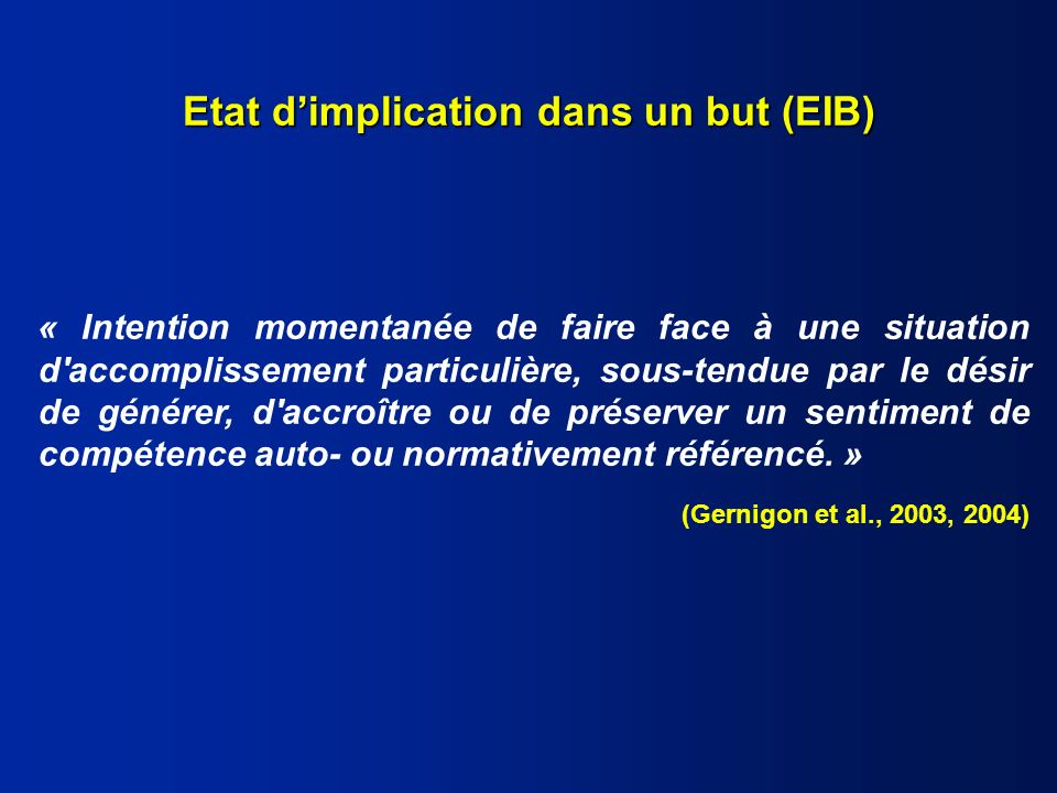 Etat d'implication dans un but (EIB)