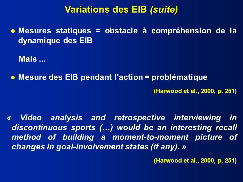 Variations des EIB (suite)