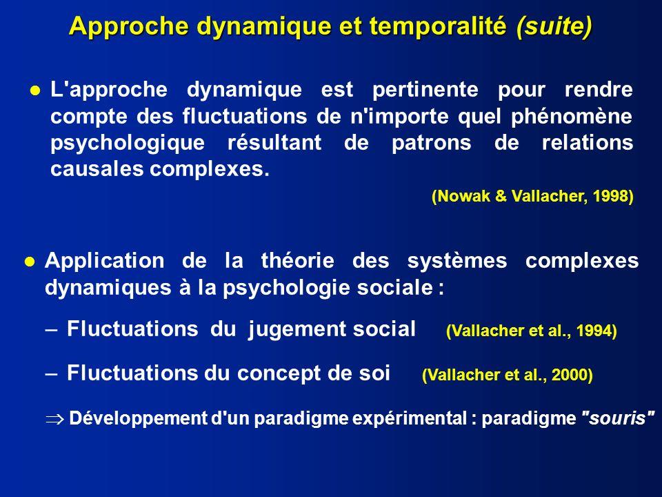 Approche dynamique et temporalité (suite)