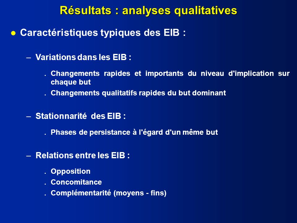 Résultats : analyses qualitatives