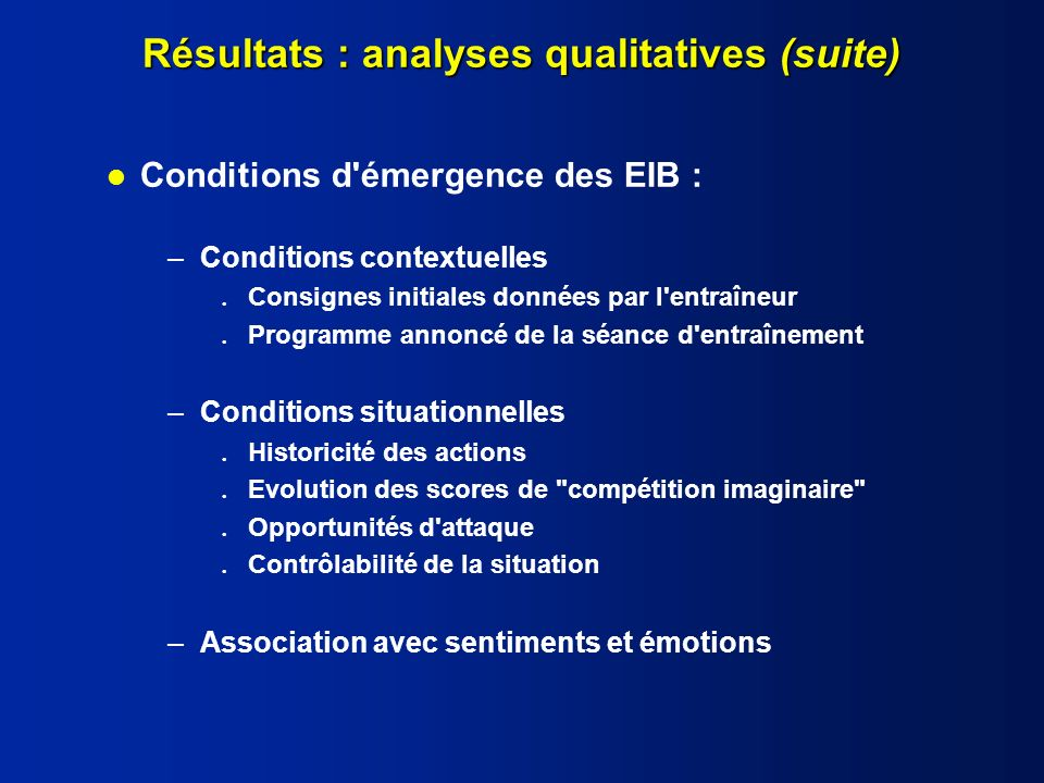 Résultats : analyses qualitatives (suite)