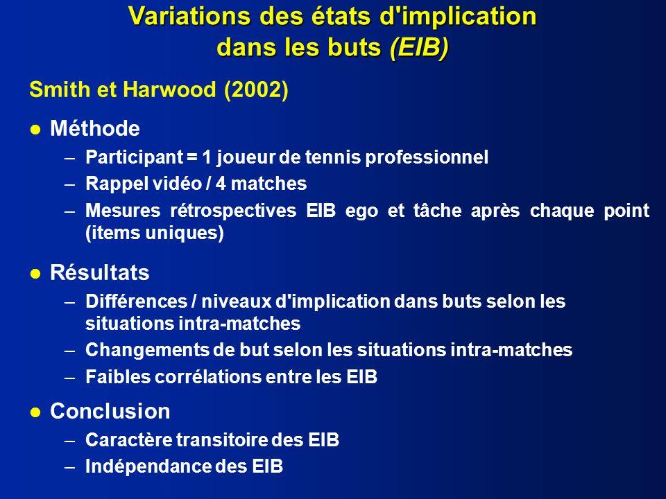 Variations des états d implication dans les buts (EIB)