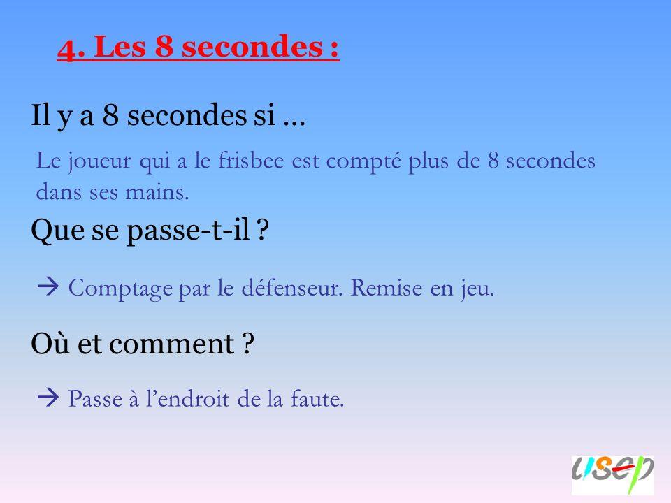 4. Les 8 secondes : Il y a 8 secondes si … Que se passe-t-il