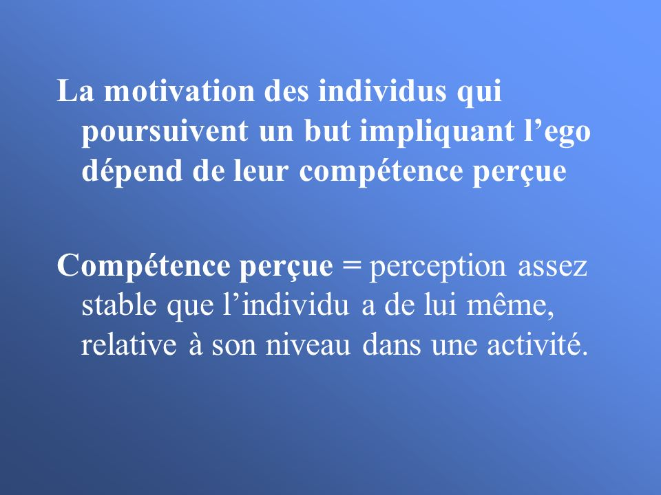 La motivation des individus qui poursuivent un but impliquant l'ego dépend de leur compétence perçue