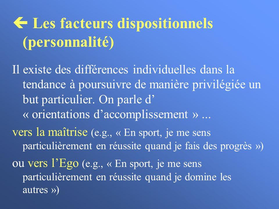  Les facteurs dispositionnels (personnalité)