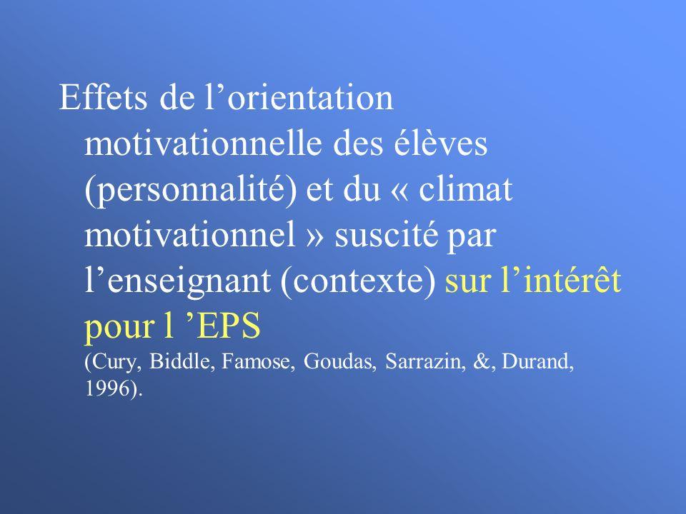 Effets de l'orientation motivationnelle des élèves (personnalité) et du « climat motivationnel » suscité par l'enseignant (contexte) sur l'intérêt pour l 'EPS (Cury, Biddle, Famose, Goudas, Sarrazin, &, Durand, 1996).