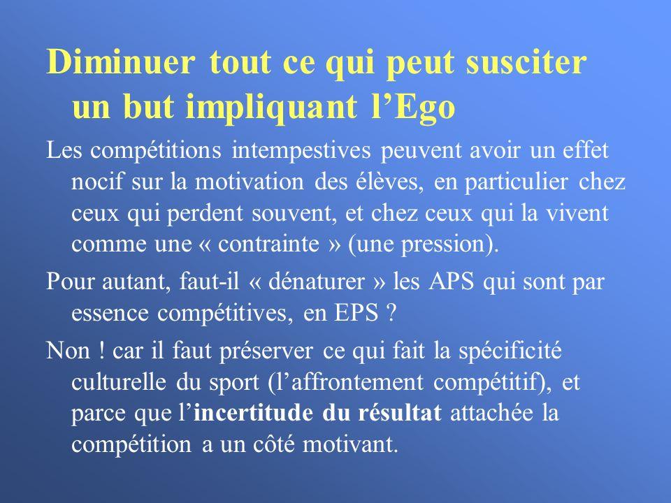 Diminuer tout ce qui peut susciter un but impliquant l'Ego