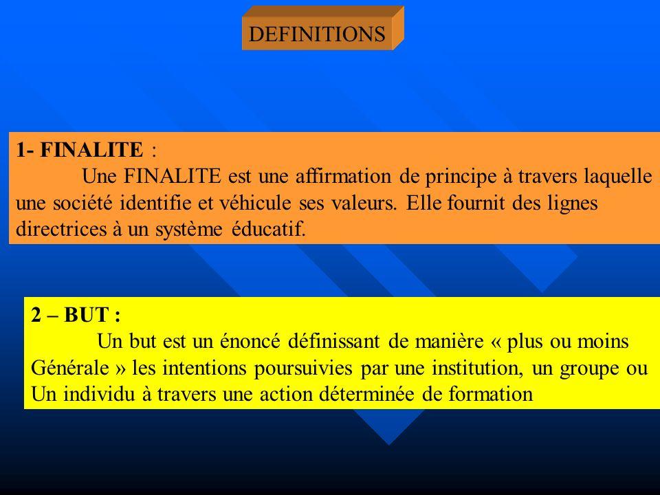 DEFINITIONS 1- FINALITE : Une FINALITE est une affirmation de principe à travers laquelle.