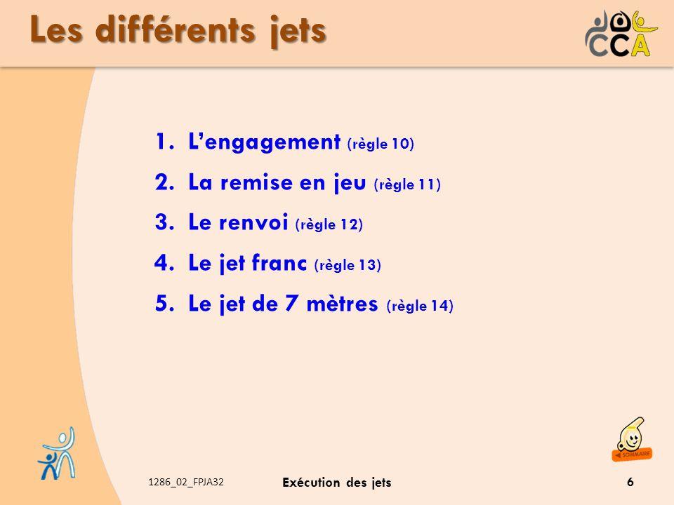 Les différents jets L'engagement (règle 10)