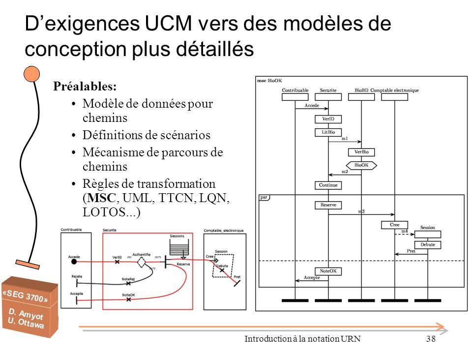 D'exigences UCM vers des modèles de conception plus détaillés