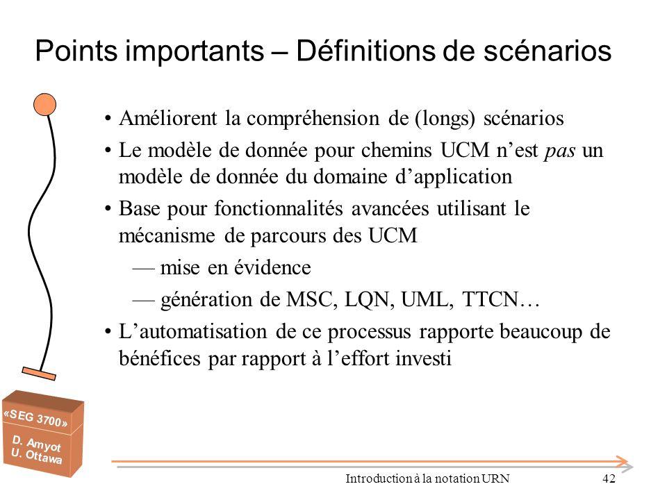 Points importants – Définitions de scénarios