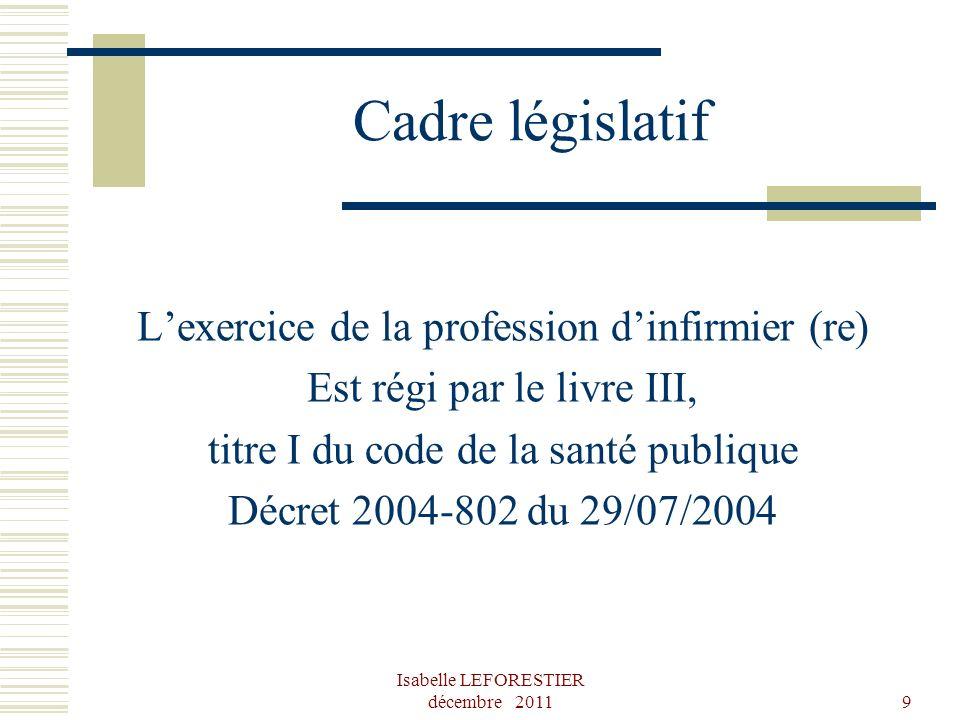 Cadre législatif L'exercice de la profession d'infirmier (re)