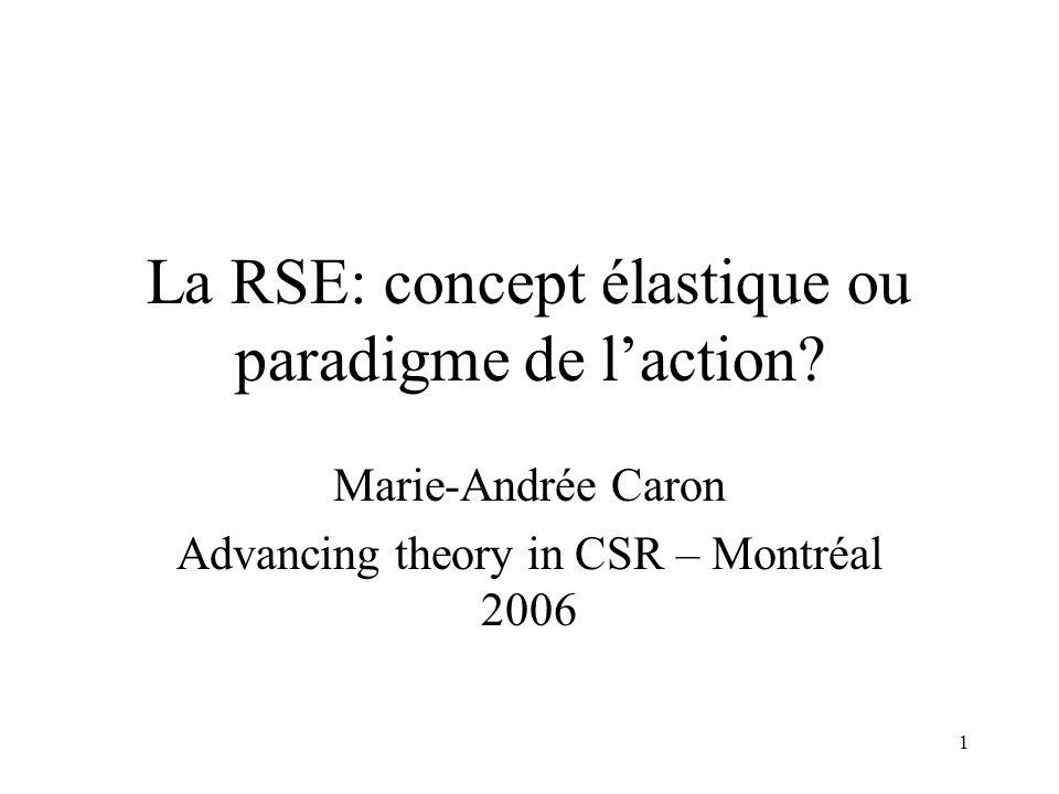 La RSE: concept élastique ou paradigme de l'action
