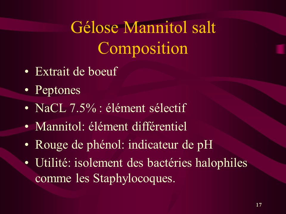 Gélose Mannitol salt Composition