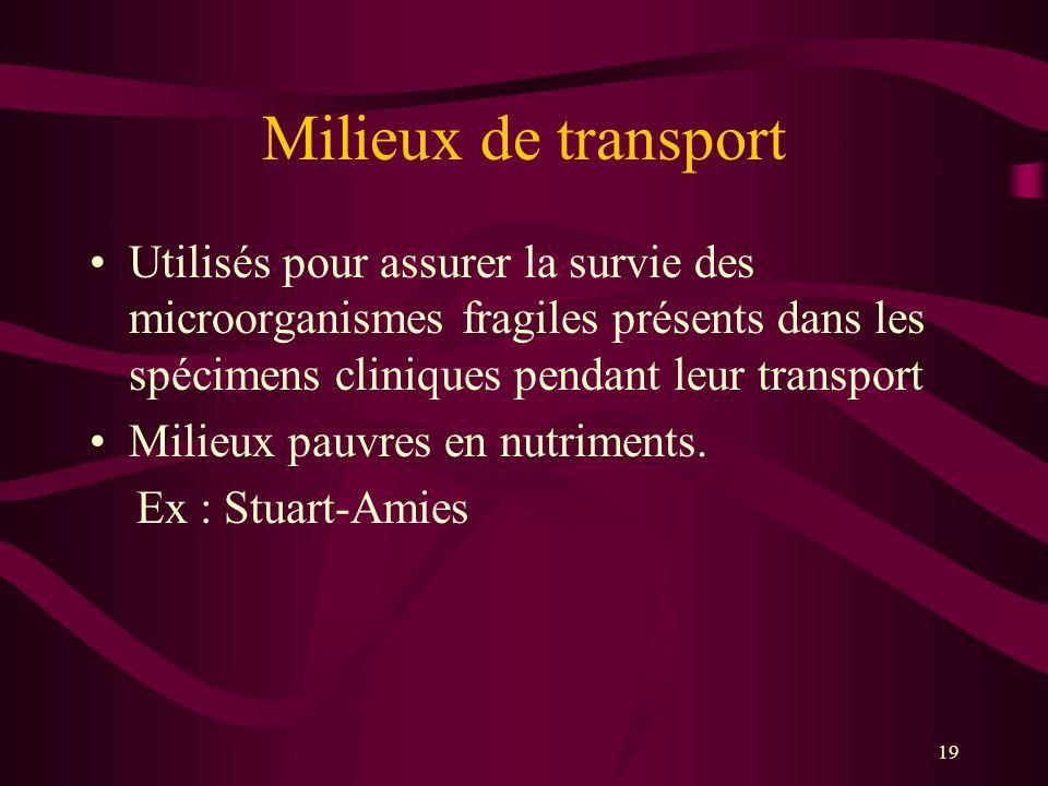Milieux de transport Utilisés pour assurer la survie des microorganismes fragiles présents dans les spécimens cliniques pendant leur transport.