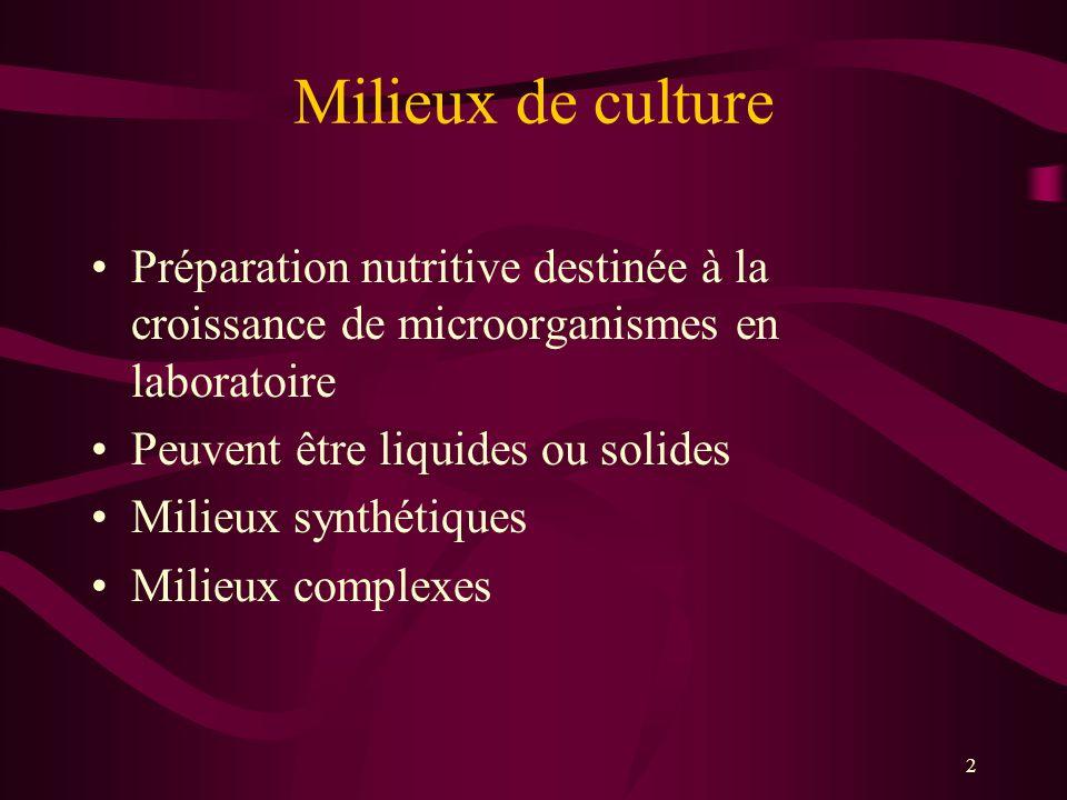 Milieux de culture Préparation nutritive destinée à la croissance de microorganismes en laboratoire.