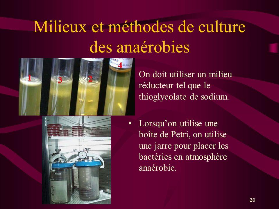 Milieux et méthodes de culture des anaérobies