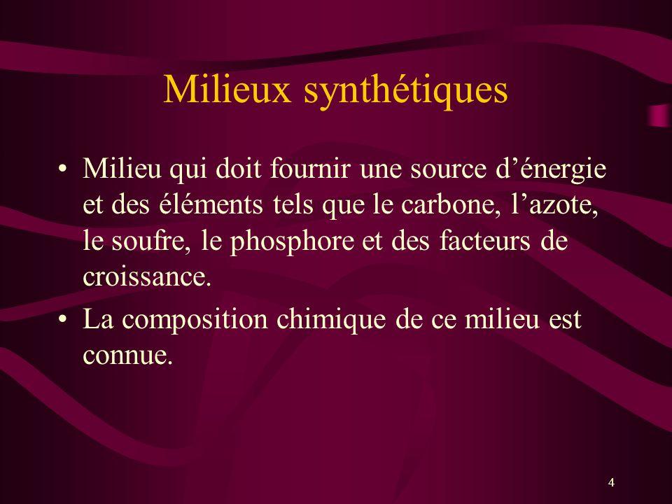 Milieux synthétiques