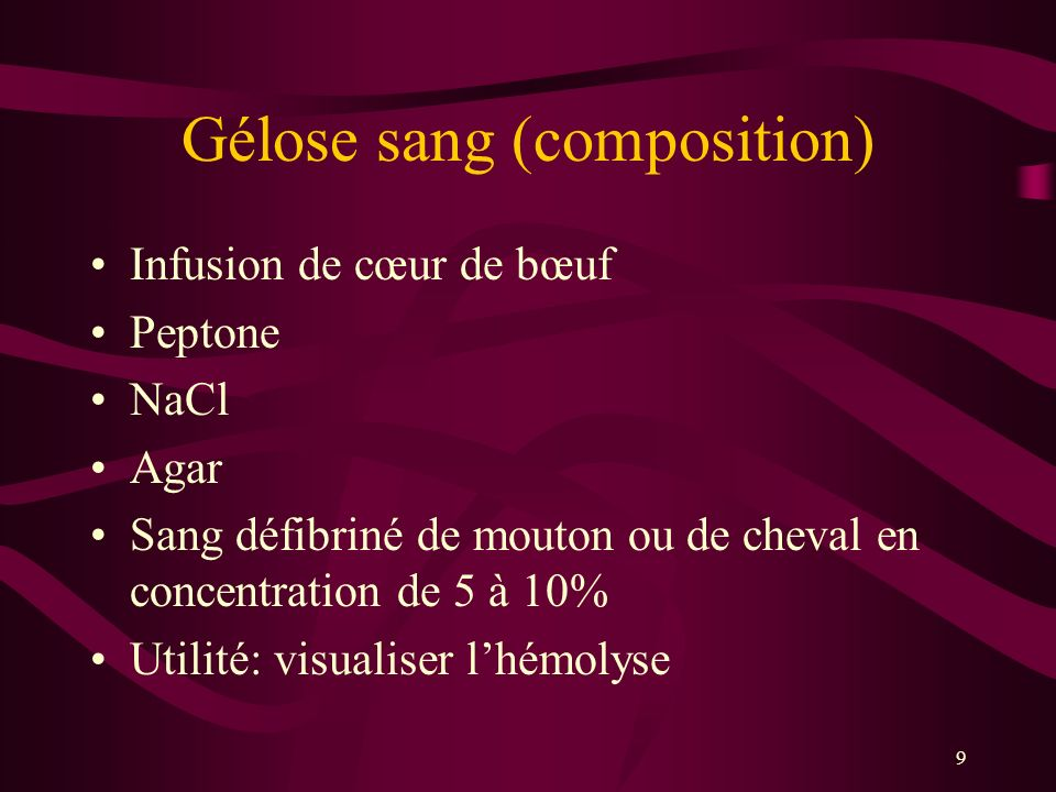 Gélose sang (composition)