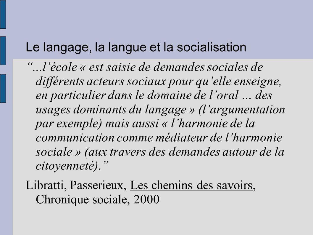 Le langage, la langue et la socialisation