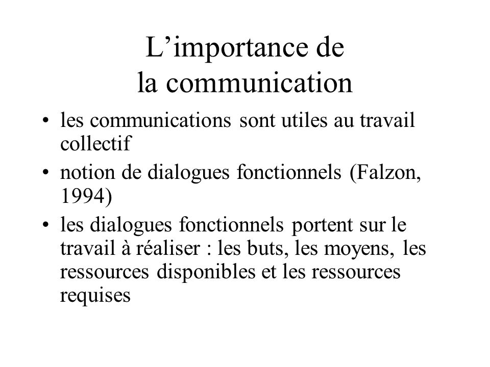 L'importance de la communication