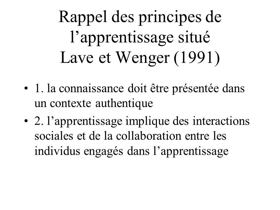Rappel des principes de l'apprentissage situé Lave et Wenger (1991)