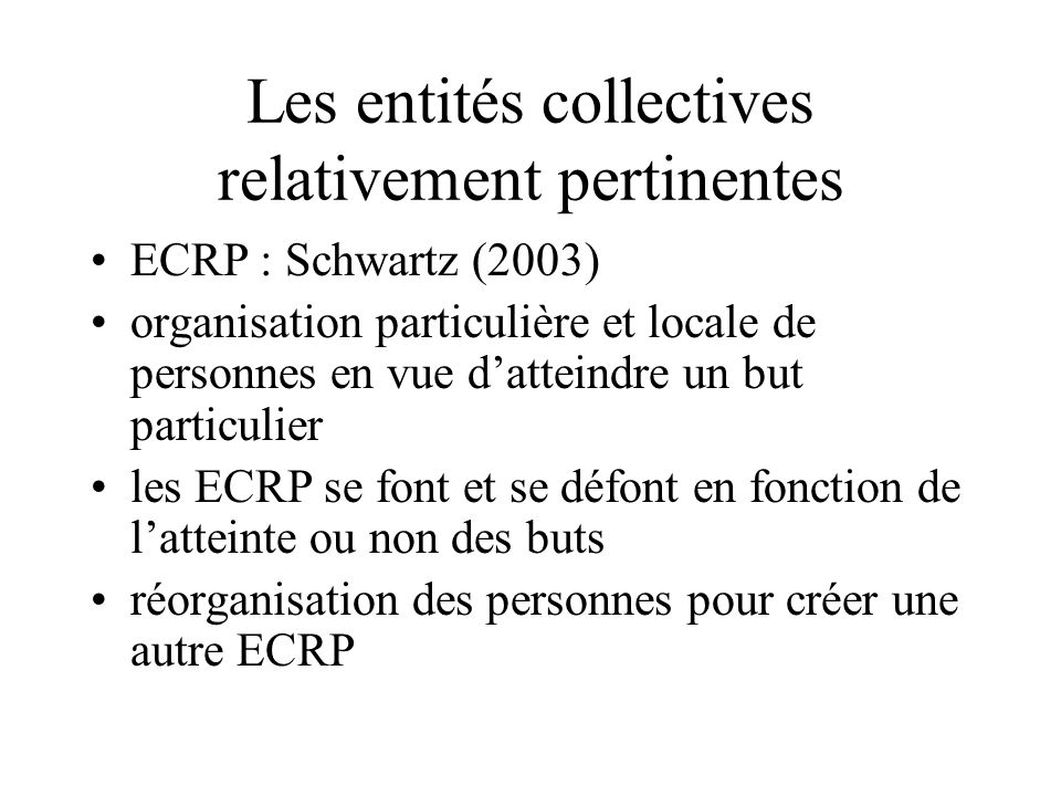 Les entités collectives relativement pertinentes