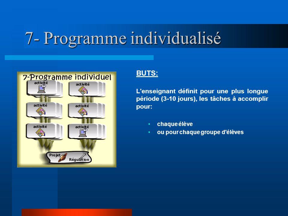 7- Programme individualisé