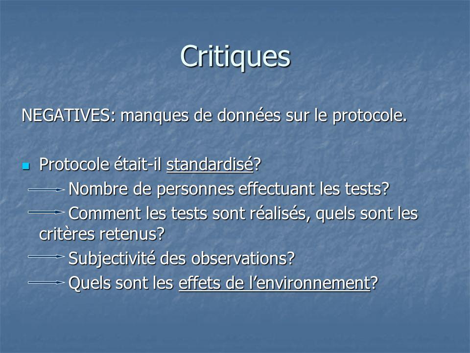Critiques NEGATIVES: manques de données sur le protocole.