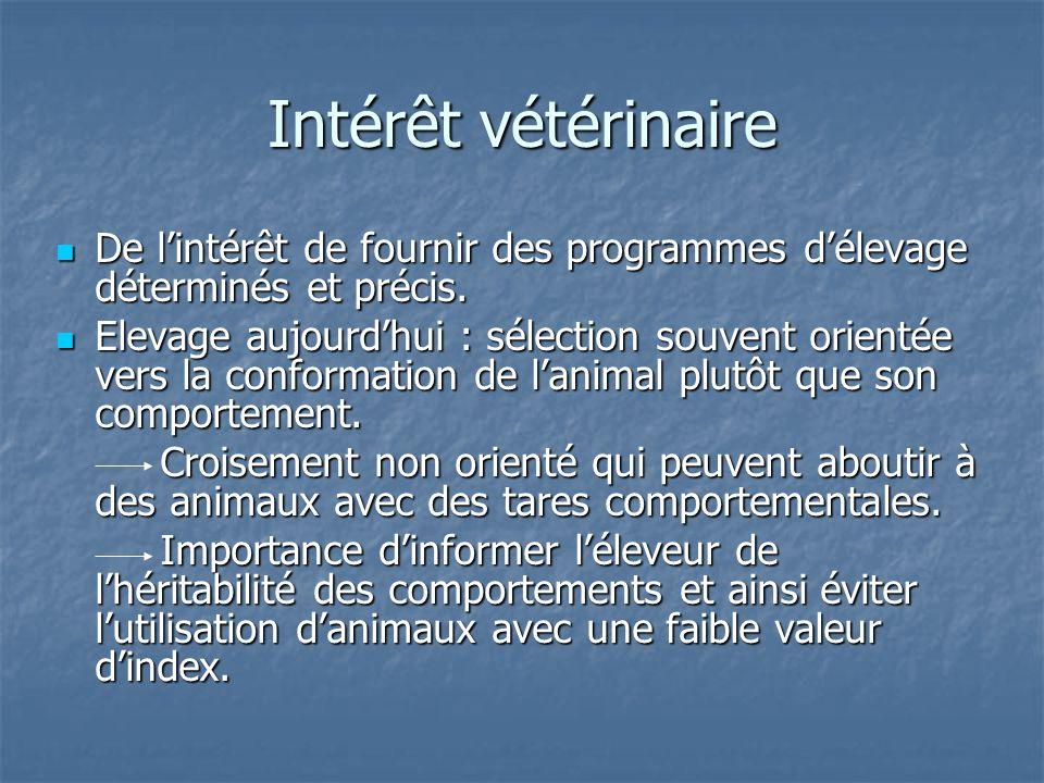 Intérêt vétérinaire De l'intérêt de fournir des programmes d'élevage déterminés et précis.