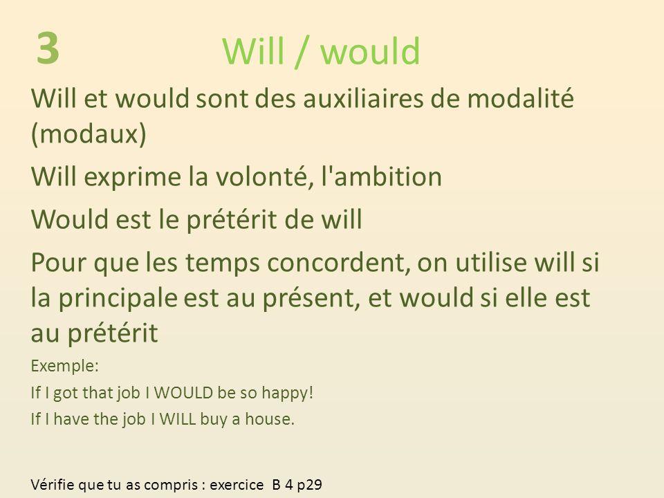 3 Will / would Will et would sont des auxiliaires de modalité (modaux)