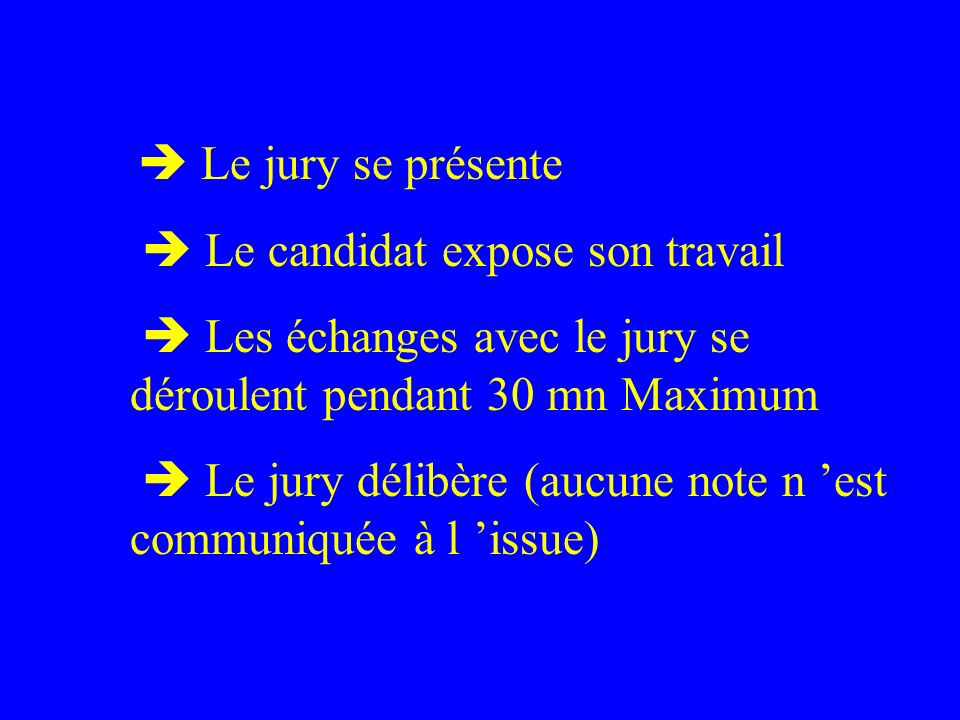  Le candidat expose son travail