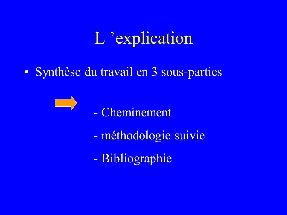 L 'explication Synthèse du travail en 3 sous-parties - Cheminement