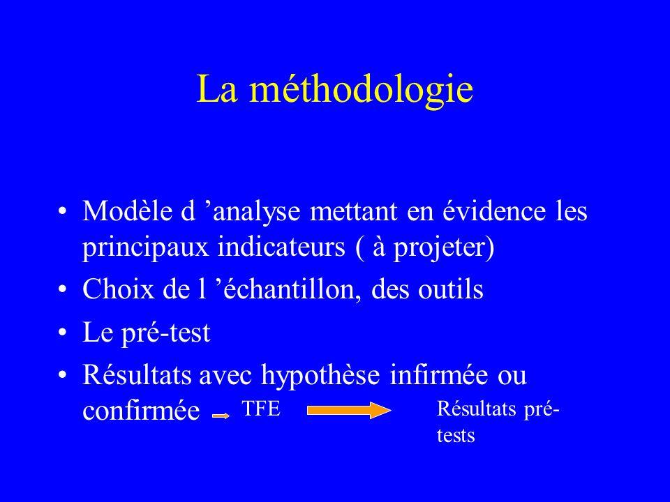 La méthodologie Modèle d 'analyse mettant en évidence les principaux indicateurs ( à projeter) Choix de l 'échantillon, des outils.