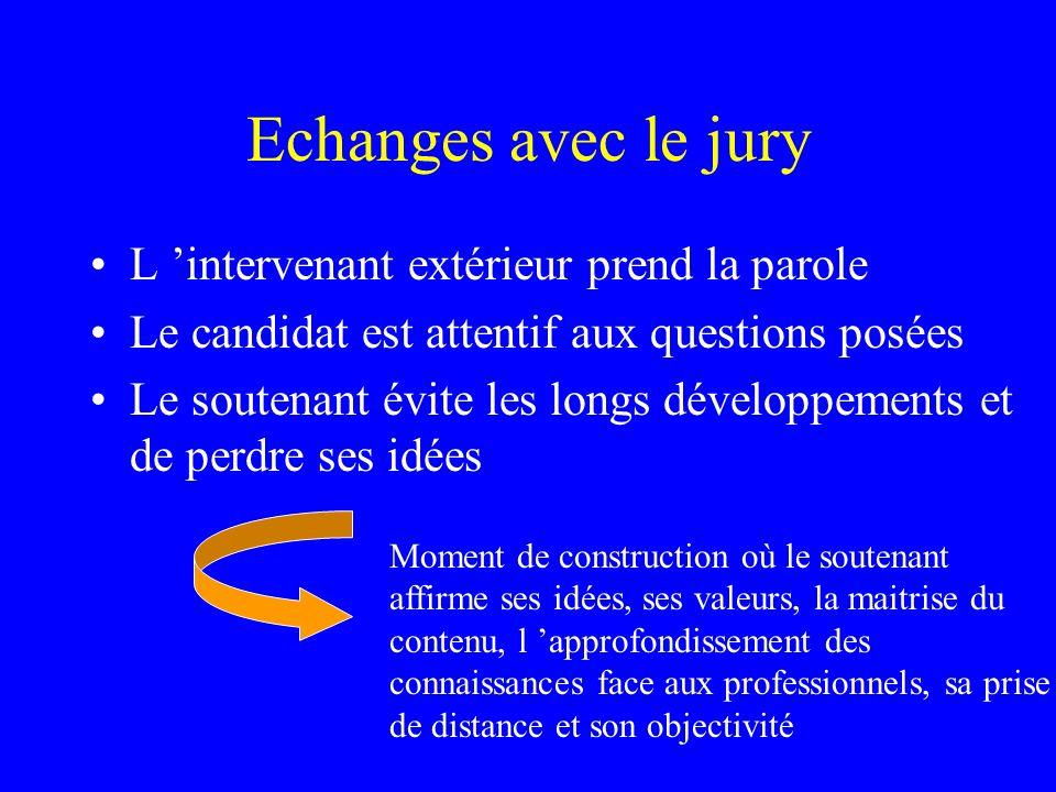 Echanges avec le jury L 'intervenant extérieur prend la parole