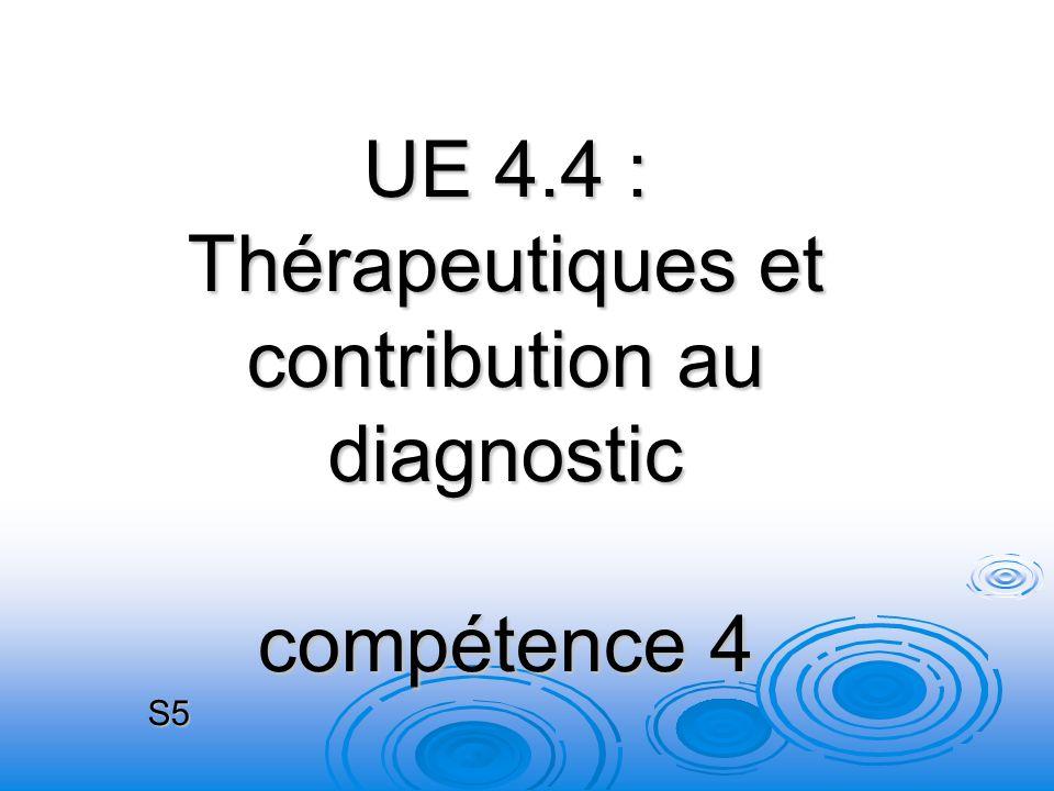UE 4.4 : Thérapeutiques et contribution au diagnostic compétence 4