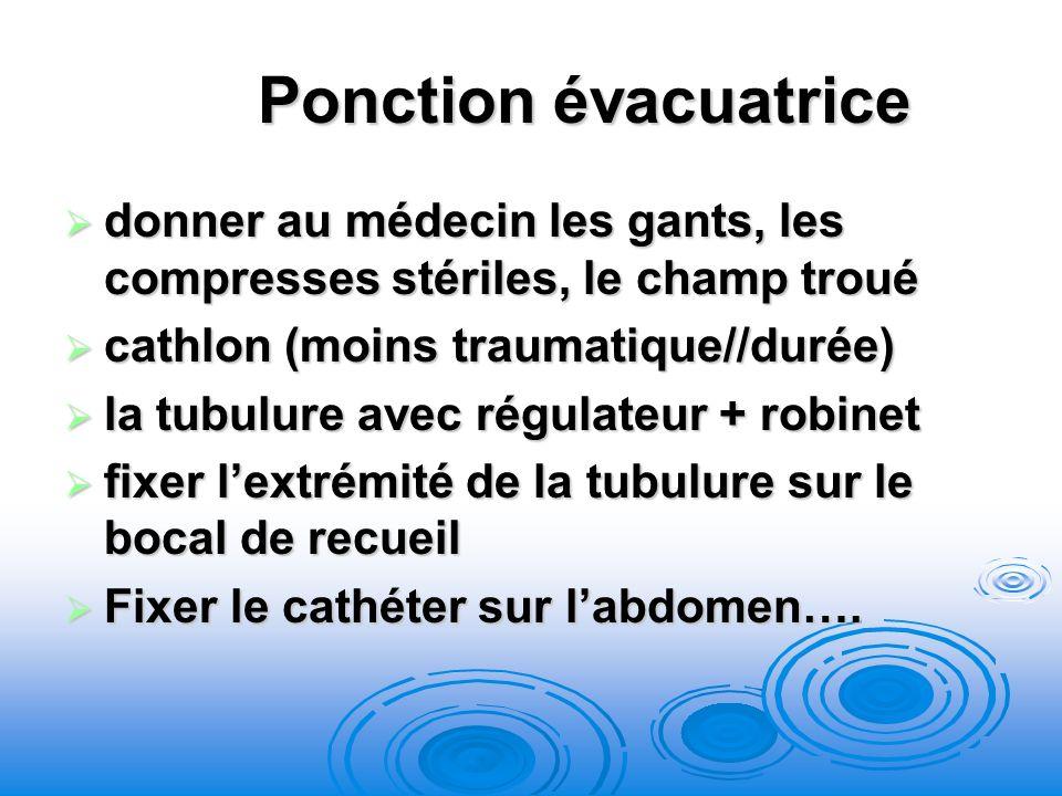 Ponction évacuatrice donner au médecin les gants, les compresses stériles, le champ troué. cathlon (moins traumatique//durée)