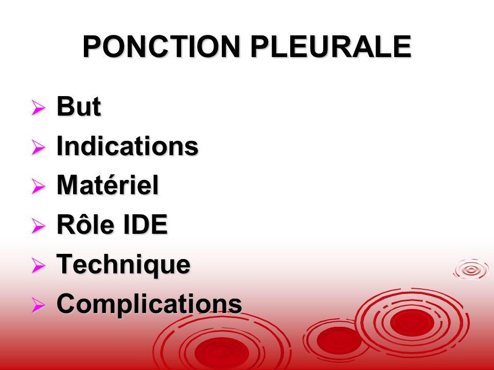 PONCTION PLEURALE But Indications Matériel Rôle IDE Technique