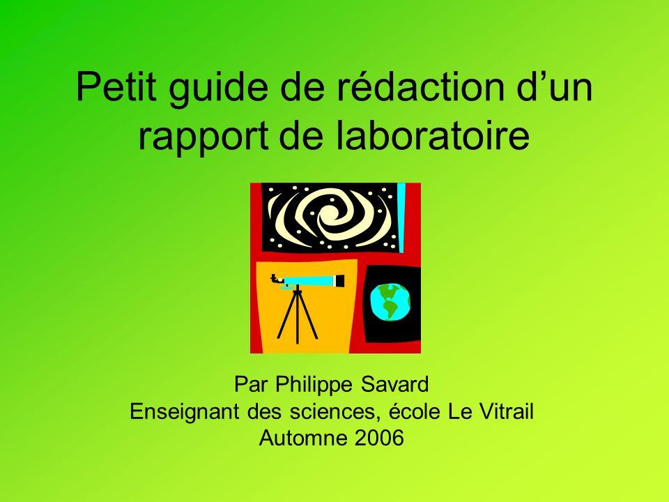 Petit guide de rédaction d'un rapport de laboratoire
