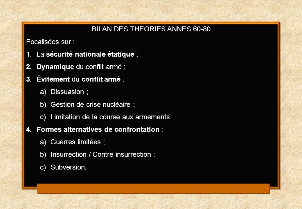 BILAN DES THEORIES ANNES 60-80