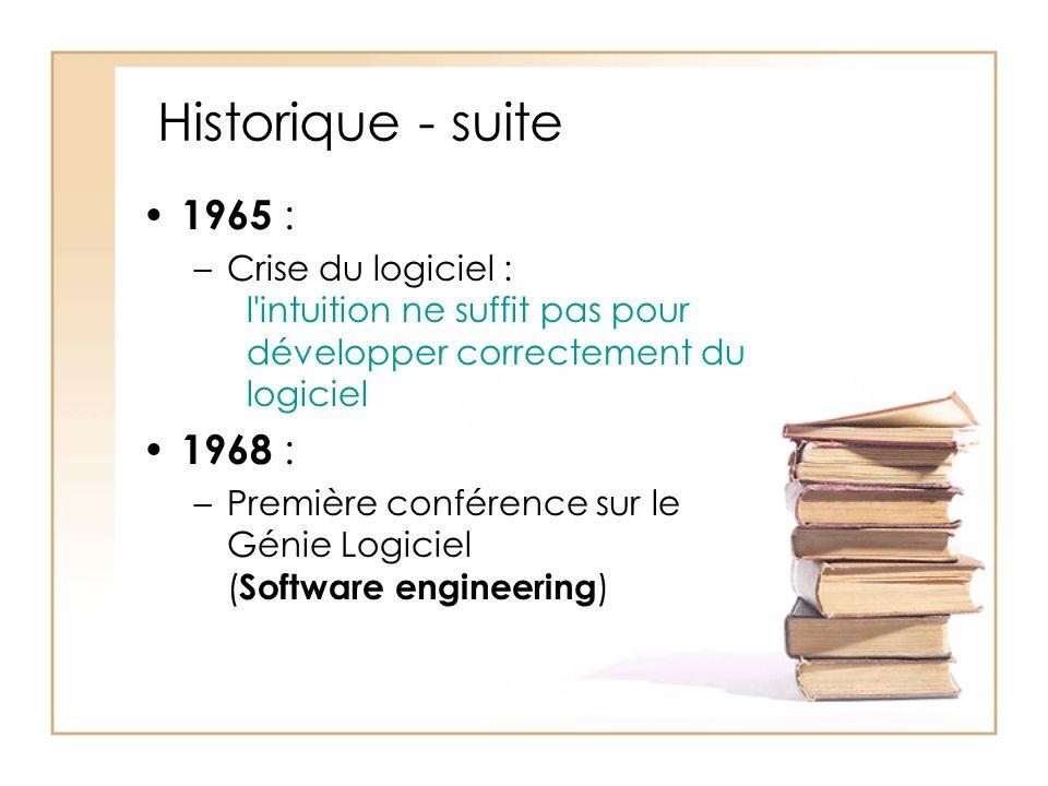Historique - suite 1965 : Crise du logiciel : l intuition ne suffit pas pour développer correctement du logiciel.
