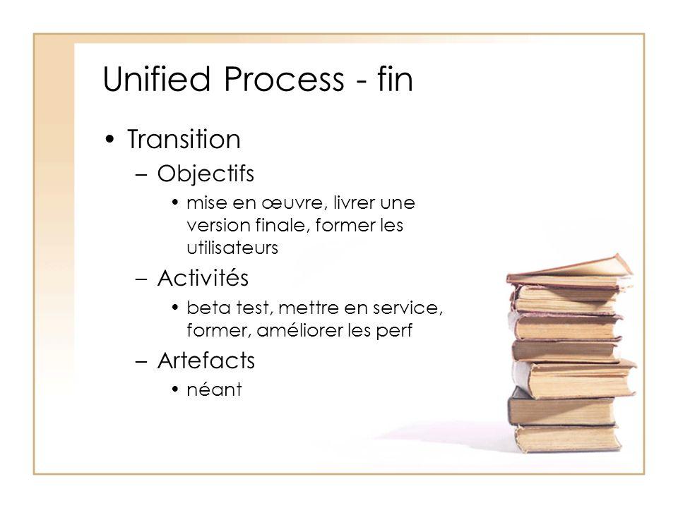 Unified Process - fin Transition Objectifs Activités Artefacts