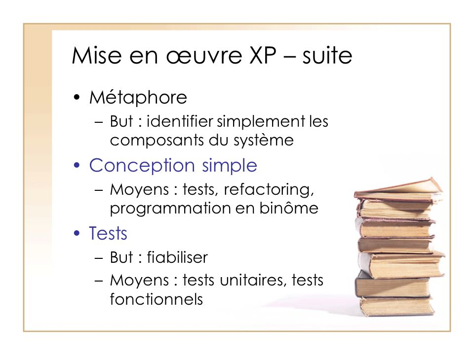 Mise en œuvre XP – suite Métaphore Conception simple Tests