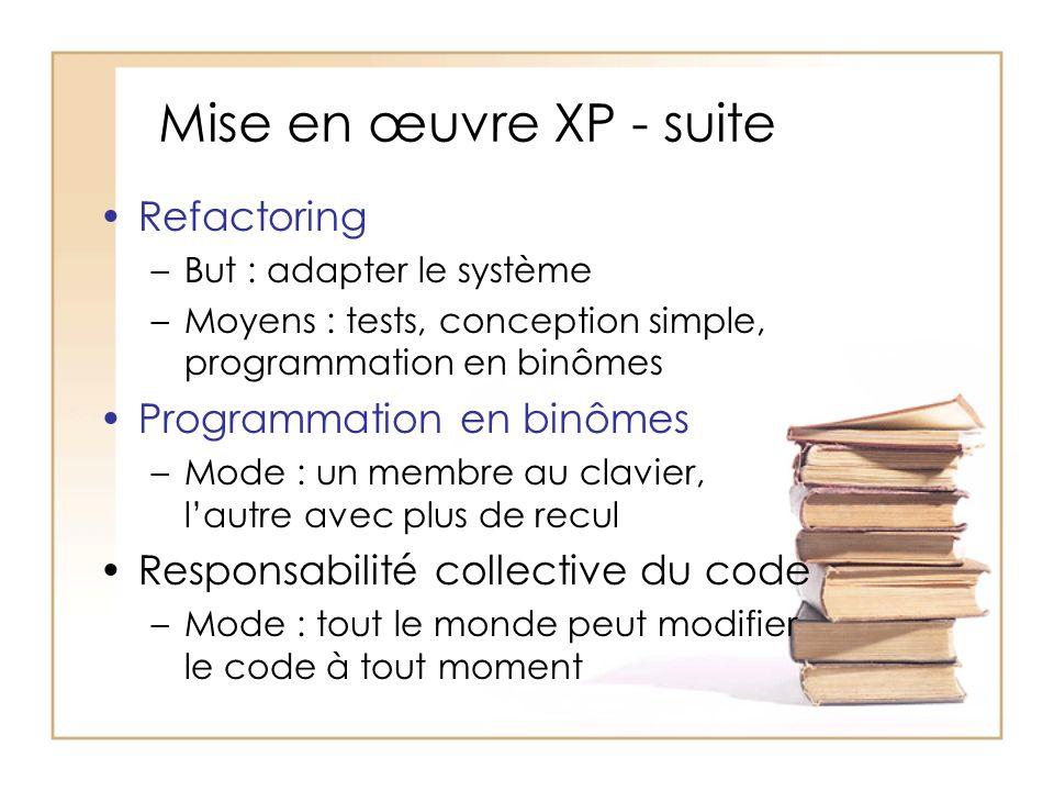 Mise en œuvre XP - suite Refactoring Programmation en binômes